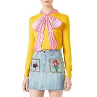"""Gucci"" Women Casual Fashion All-match Rivet Flower Embroidery High Waist Bodycon A Word Denim Short Skirt"