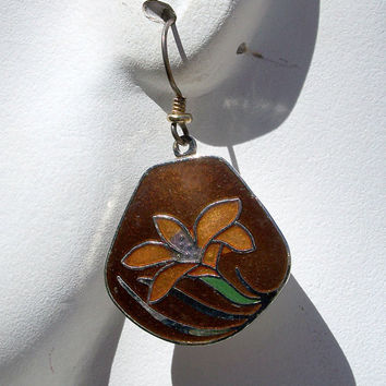 Vintage Laurel Burch Orange Lily Flower Enamel Earrings Fall Colors