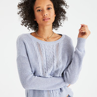 AE Mix Stitch Cable Knit Pullover, Lively Lilac
