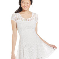 Speechless Juniors' Crochet-Knit Dress
