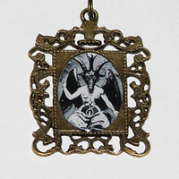 Baphomet Rectangle Pendant Necklace