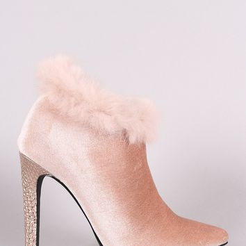Shoe Republic LA Velvet Faux Fur Pointy Toe Stiletto Booties