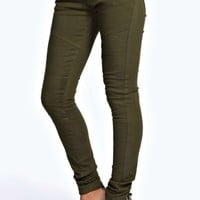 Evie Low Rise Superskinny Khaki BikerJeans