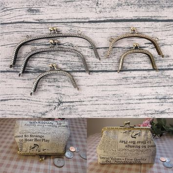 5Sizes Handbag Accessories Bags Hardware Making Kiss Clasp Lock Antique Bronze Tone Arch Metal Purse Frame Handle for Clutch Bag