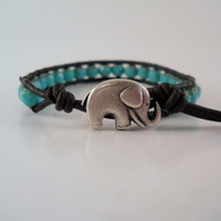 Lucky Elephant Beaded Turquoise Leather Wrap Bracelet by PZWDesign