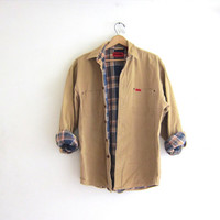 Vintage men's work shirt Jacket. cotton shirt. Distressed and worn in. insulated with flannel lining