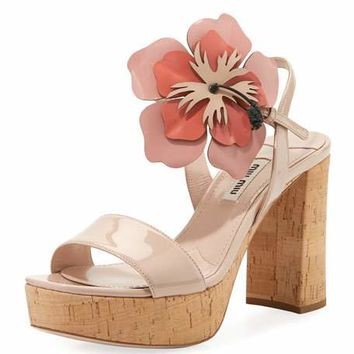Miu Miu Patent Sandal with Flower Motif