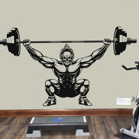 Workout Gym Wall Decal, Muscle Skull Training Sticker, Home Gym Bodybuilding Wall Decor, Barbell Training CrossFit Decor Mural Art se159