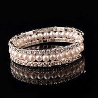 Chic Rhinestone Faux Pearl Multilayered Bracelet For Women - Silver