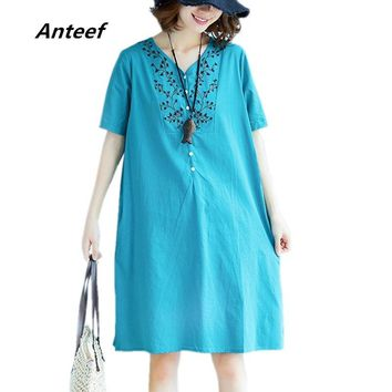 Anteef cotton linen vintage floral embroidery clothes plus size women casual loose midi summer dress vestidos 2018 dresses