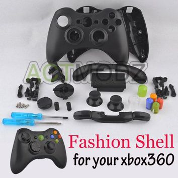 For Xbox 360 Customs Controller Matte Black Shell Case and Rainbow Buttons Parts