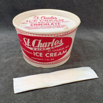 Vintage St. Charles Ice Cream Carton – Old Ice Cream Cup with Wood Spoon