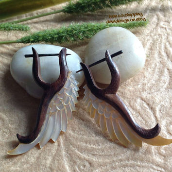 "Stick Post Earrings, ""Meadow Wings"" Naturally Organic, Mother Of Pearl and Sono Wood, Hand Carved, Tribal"