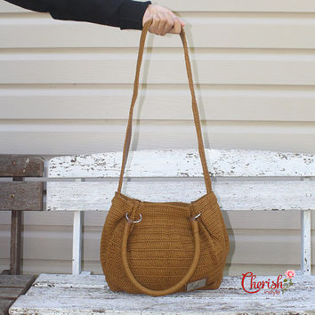 Cazea crochet tote/Handbag/Casual/tote/woman bag/ shoulder bag/ hobo bag/bucket bag/Medium/light brown/peanut/crochet bag/gifts for her/bag
