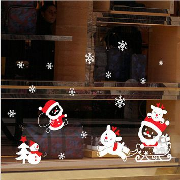 DIY Christmas Snowman Wall Paper Removable Home Vinyl PVC Window Wall Stickers Decal Decors