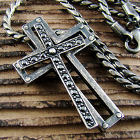 Mens Retro Burnished Gothic Separable Cross Pendant Necklace Chain Black Zirconia 77