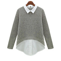 Dual-tone Knit Blouse In Grey