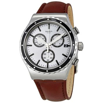Swatch Grandino Silver Dial Mens Chronograph Leather Watch YVS437