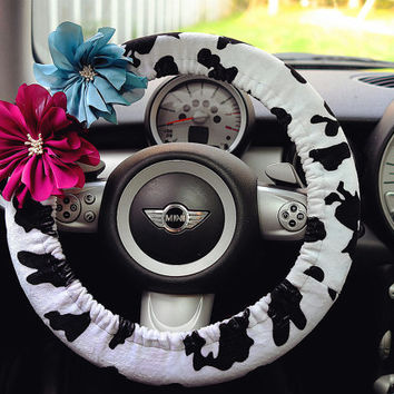 Car Steering wheel cover-Milk Cow Pattern with Chiffon Flower, Unique Automobile Accessories, Car Decor, Automobile Wheel cover