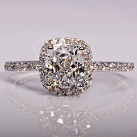 Simulated Diamond 925 Silver Engagement Wedding Ring