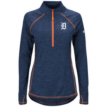 MLB Detroit Tigers Majestic Women's Don't Stop Trying Half-Zip Pullover Jacket - Navy/Orange