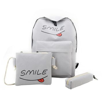 3PCS!! Awesome SMILE Canvas Backpack/Pencil Pouch/Shoulder Bag