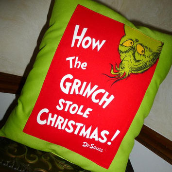 GRINCH PiLLOW HaNDMADE BOUTiQuE CUSToM 15X12 Beautiful BRiGHT FABRiCS Designs by Sugarbear