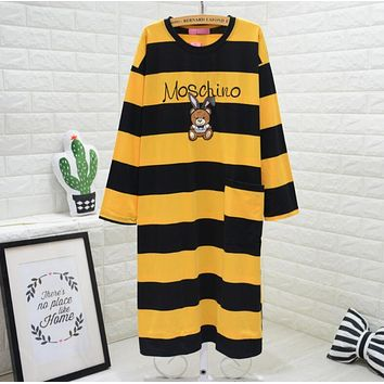 MOSCHINO Trending Women Stylish Embroidery Cartoon Bear Print Long Sleeve Round Collar Yellow Stripe Nightgown Skirt Dress I13427-1
