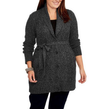 Faded Glory Women's Shawl Collar Duster Sweater, Black Charcoal, 2X