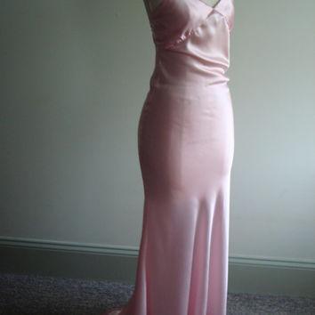 Pink Bias Gown - Pink Satin Slip Dress - Slinky Style - Pink Wedding