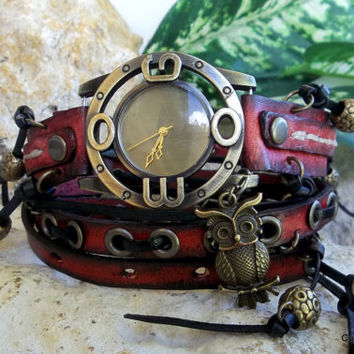 Wrap Watch, Womens leather watch, Bracelet Watch with Charms, Red and Black Wrist Watch