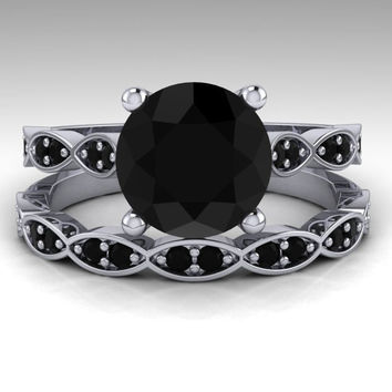 Black Diamond Engagement Ring Set / White Gold Bridal Ring Set / Round 2. Carat Natural Black Diamond Wedding Set / 14KWhite Gold / RE00201W