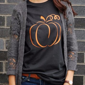 Halloween Pumpkin Graphic T-shirt Women Fashion 90s Funny Cotton Tops Grunge Party Style Casual Tees Holiday Gift Tumblr T Shirt