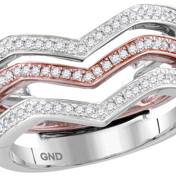 10kt White Rose Gold Womens Round Diamond 3-piece Triple Stackable Chevron Band Ring 1/3 Cttw 114417