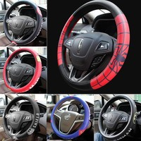 New The Avengers Marvel Cute Cartoon Leahter Car Steering Wheel Covers 36.5-38cm in the Car Universal For Cars Auto Accessories