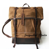BACKPACK Safari Bag/ Canvas backpack/ Genuine Cow Leather Men's leather bag/ Laptop bag