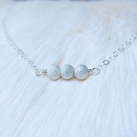 Silver Ball Necklace,  Dainty Sterling Silver Bead Necklace, Simple Sivler Choker Necklace, Sivler Stardust Necklace, Three Wishes Necklace