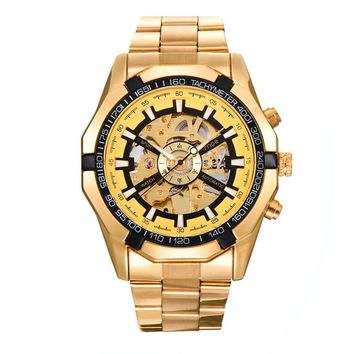 Men's mechanical hollow steel watch [10757664323]