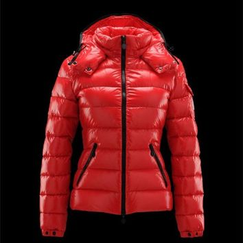 Moncler Bady classic Detachable Hood Red Jackets Lacquered Nylon Womens 41224540IF