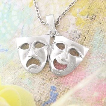 Classic Masks of Comedy and Tragedy Necklace