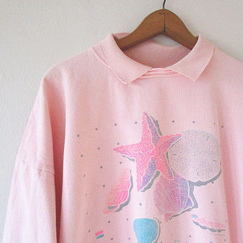 Vintage 90s PAWLEYS ISLAND South Carolina Pink SEASHELL Beach Collared Tourist Pullover Sz L