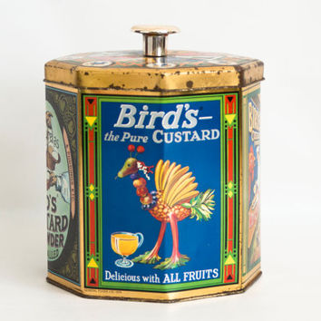 Vintage Birds Custard Powder Tin Box, Metal Storage Container Biscuit Jar, Reproduction Vintage Ad Canister