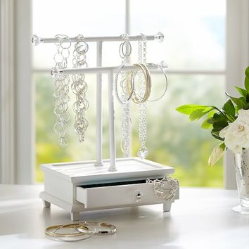 Chloe Double Bar Necklace Stand, Pool Clover