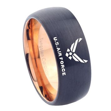 8mm US Air Force Dome Tungsten Carbide Rose Gold Men's Wedding Ring