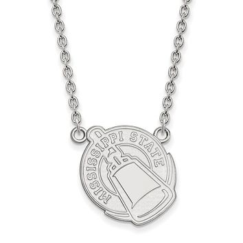 NCAA 14k White Gold Mississippi State Large Pendant Necklace