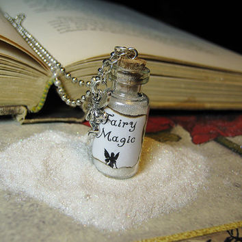 Fairy Magic 2ml Glass Bottle Necklace - Magic Dust Cork Vial Pendant - Faery Charm