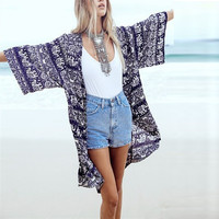 2016 New Women Summer Blouse Floral Print 3/4 Sleeve Casual Loose Beach Boho Kimono Cardigan Long Blusas Tops Plus Size S-6XL
