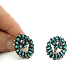 Native American Turquoise Earrings Sterling Silver Early Zuni Petit Point Snake Eyes Gem Open Ovals Rope Screw Backs Vintage 1940s 50s