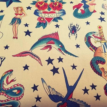 Alexander - Henry - tattoo - mermaid - heart - Skull - skulls - Star - bird - shark - hula - girl -  fabric - quilting - cotton