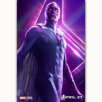 MQ3564 Avengers Infinity War The Vision 2018 Movie Characters Film Art Poster Silk Canvas Home Decoration Wall Picture Printings